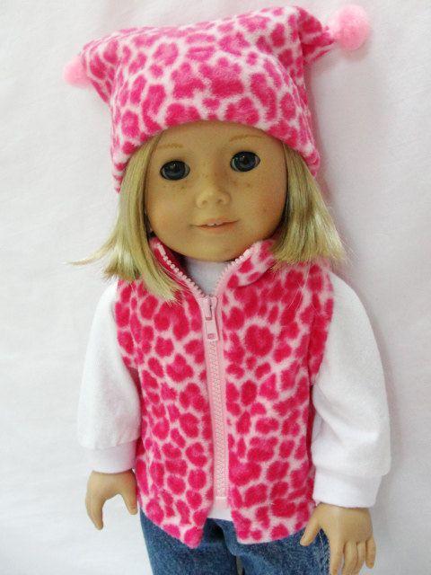 American Girl Doll Vest   Pink Leopard Fleece