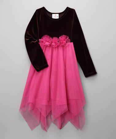Brown & Pink Rosette Handkerchief Dress - Toddler by KoKo on #zulily