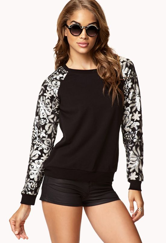 Sequined Sleeve Pullover