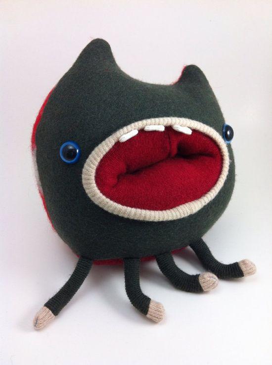 Mac the monster handmade plushie sweater creature