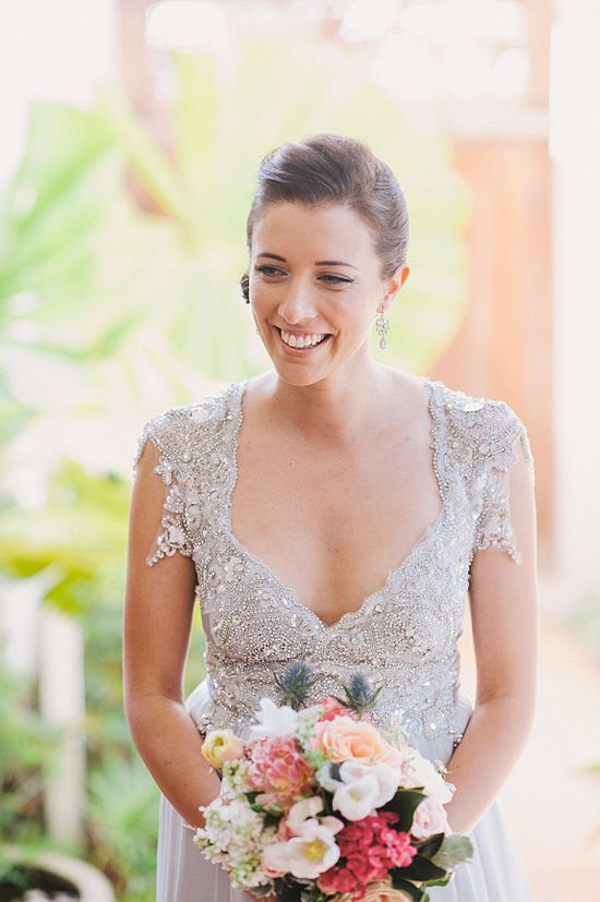 Beautiful silver wedding dress by Anna Campbell