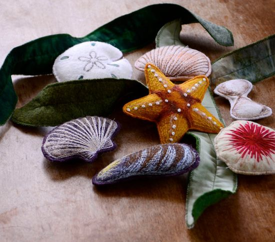 Summer Ocean Toys. Felt Seashell Nature Montessori by alyparrott