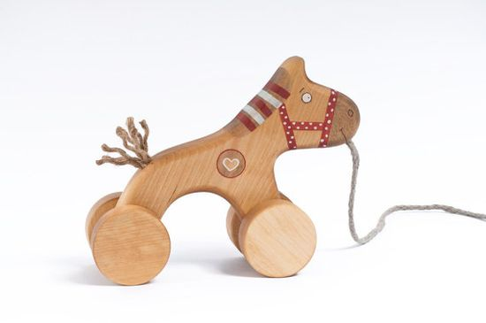 Wooden Red Horse Toy ecofriendly pull kids toy by FriendlyToys, $27.00