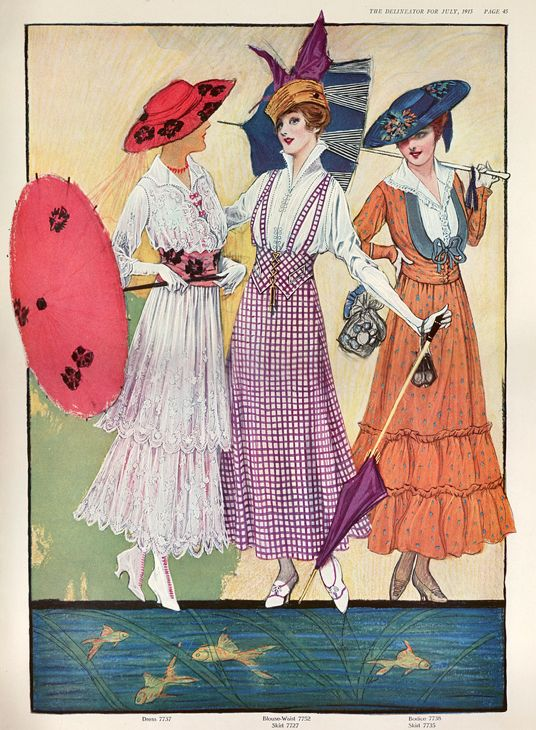 1915 'Summer' Fashion. From the magazine 'The Delineator'.