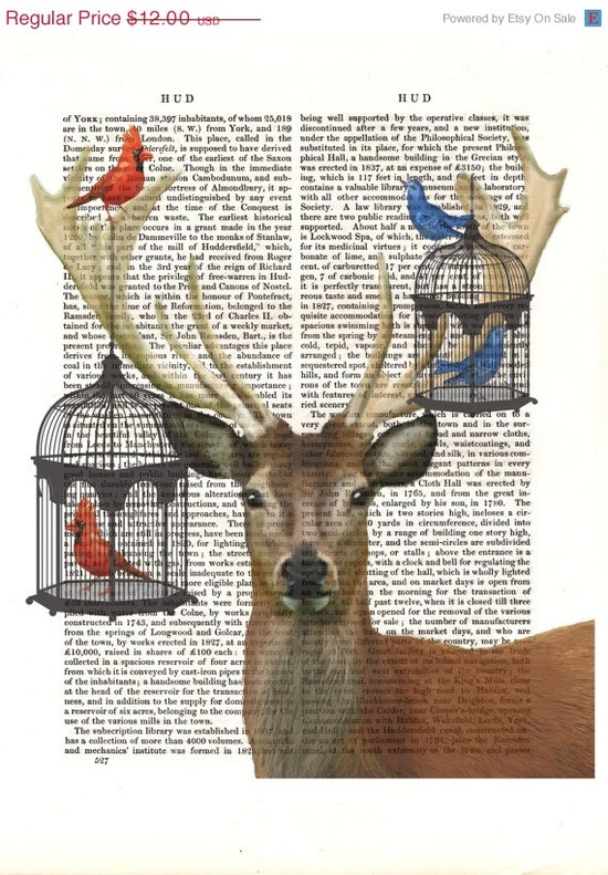 Deer and Bird Cages Illustration