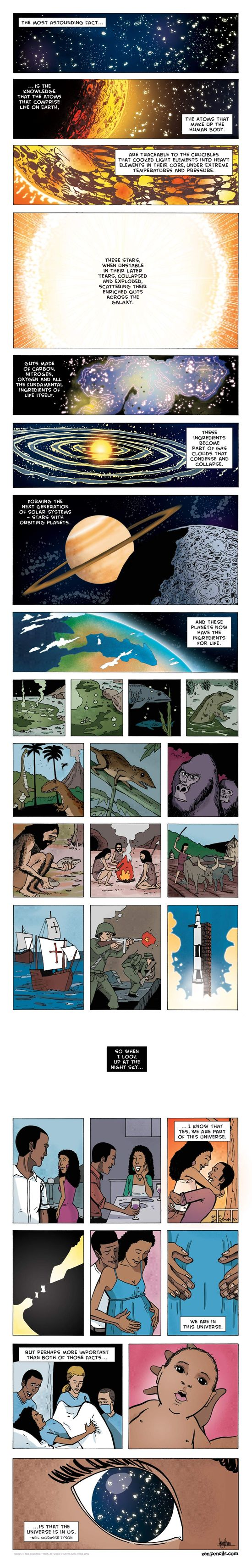 Neil DeGrasse Tyson quoted;  art by zenpencils