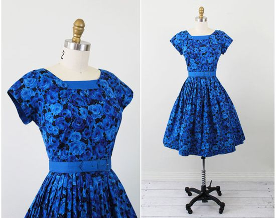 vintage 1950s 50s dress // Blue Roses Floral Party Dress with Matching Belt
