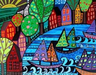 FOLK ART Sailboats Saltbox Houses
