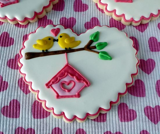 Preciously adorable heart shaped Lovebird Cookies. #food #heart #cookies #lovebirds #Valentines #wedding #anniversary #love #romantic