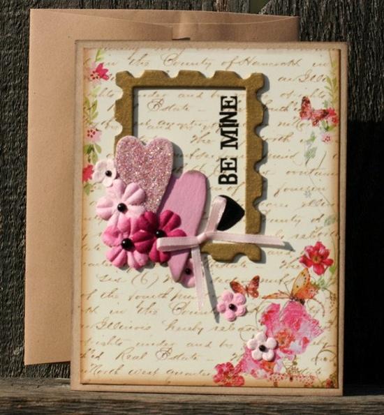 "Handmade Valentine Card  ""Be Mine""  by designstudioL on etsy"