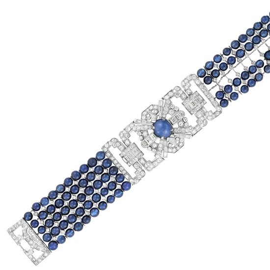 Art Deco Five Strand Synthetic Sapphire Bead, Platinum, Star Sapphire and Diamond Bracelet, circa 1925