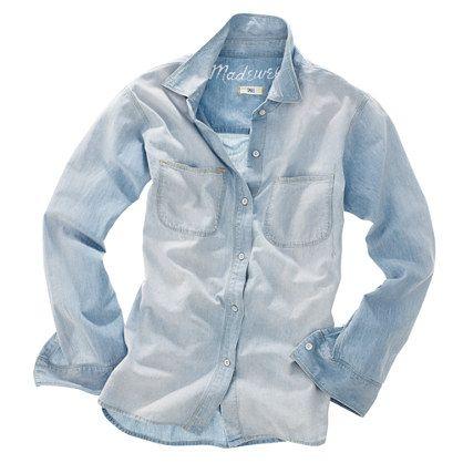 Madewell Perfect Chambray Ex-Boyfriend Shirt in Ferrous Wash