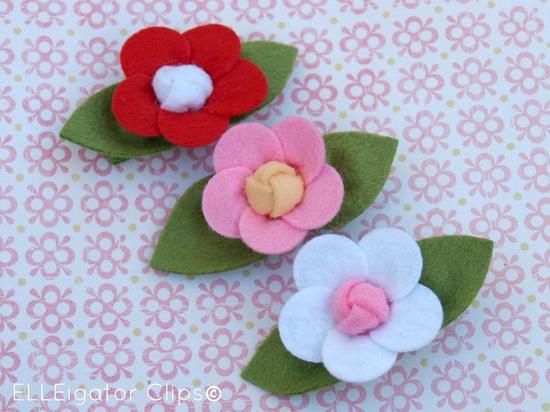 So Pretty   Felt Flower Hair Clip Set 3 piece  by ELLEigatorClips, $10.95