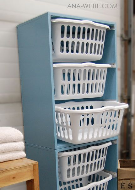 What a great idea! Says she: The Laundry Basket Dresser has taken my laundry room from the messiest room in my home to the tidiest. It's so easy to pull laundry out and put it directly into baskets. I then can take each basket to it's respective room and fold and put laundry away. For any busy home, these are a must.