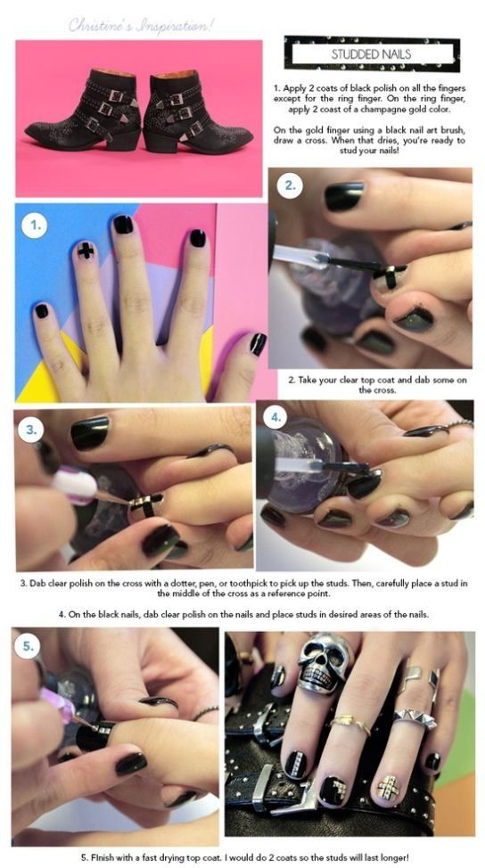 DIY Studded Nail Design