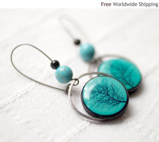 Turquoise earrings  Winter fashion jewelry  Tree by BeautySpot, $28.00