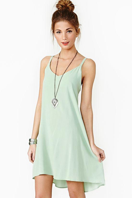 Lace Up Dress - Mint