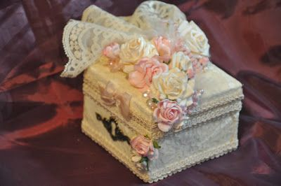 Altered Wooden Box with my handmade roses and flowers from Wild Orchid Crafts!