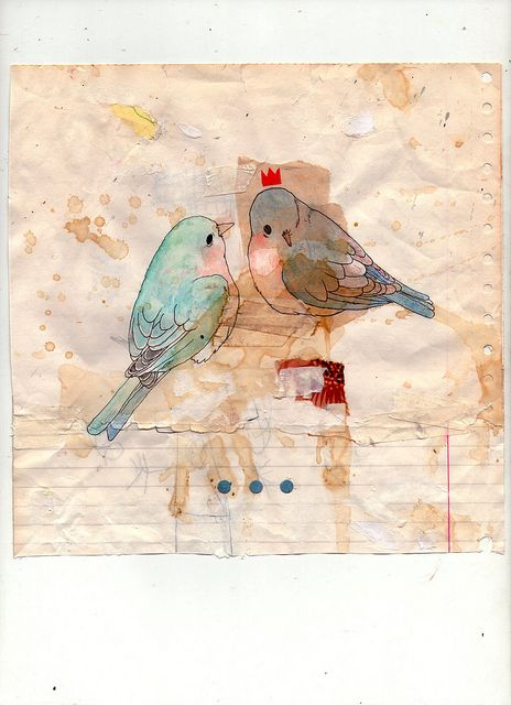 Note paper background #art #illustration #layers #birds