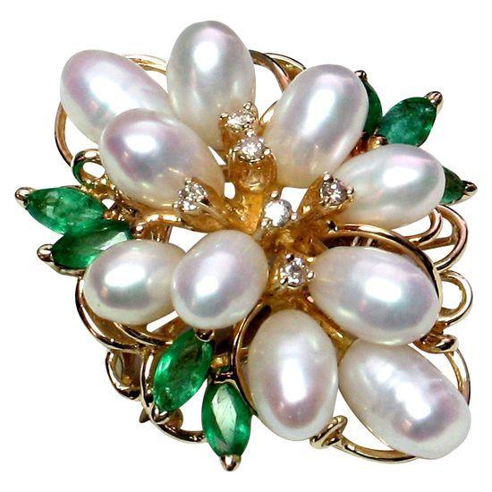 Diamond Pearl & Emerald Brooch