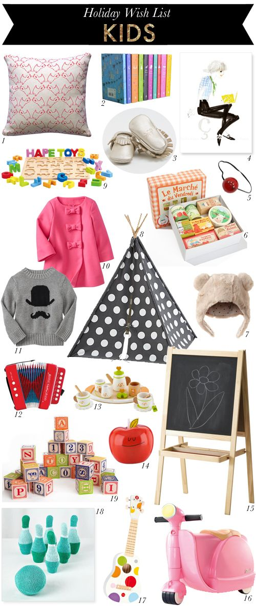 Holiday Wish List // Kids #wishlist #christmas #giftguide #gifts #kids #children #toys #gap #thelandofnod #juliadraw #carleykahn #ikea #giggles