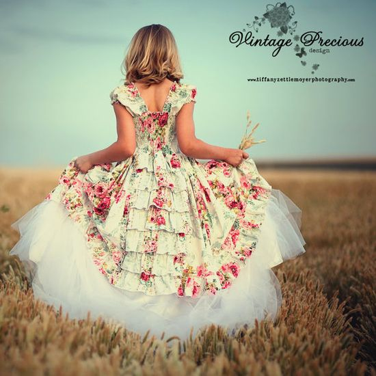 Beautiful rose covered flower girl's dress.