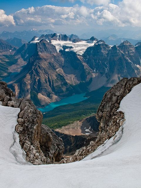 View of Moraine Lake, and Mt. Fay from summit of Mt. Temple, Canada
