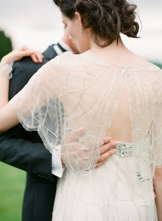 Sheer beaded capelet ~ oh my! See the full shoot in all it's KT Merry glory on Style Me Pretty {here: stylemepretty.com... Photography by ktmerry.com, Styling by styleserendipity.com