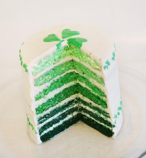Wonderfully cool ombre effect St. Patrick's Day layer cake. #cake #dessert #baking #layer #StPatricksDay #Irish #Ireland #green #shamrock