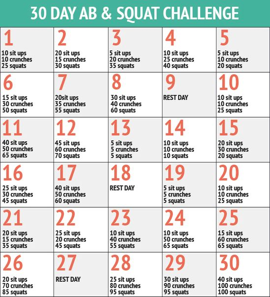 28 Days Abs Challenge 30 Day Abs And Squat Challenge