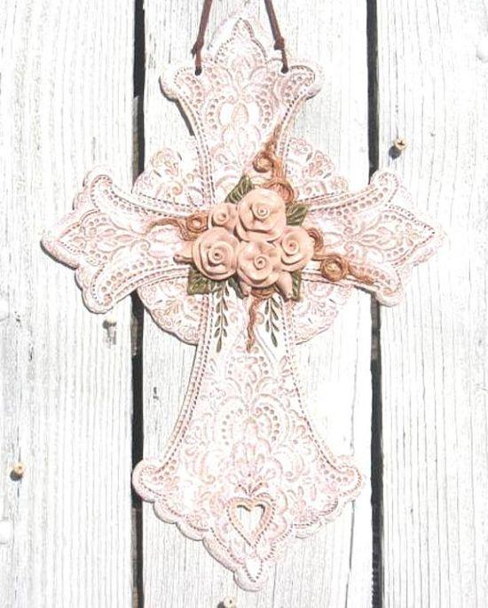 Shabby Romantic Vintage Victorian Rose Vine Cross Wall Hanging/ Wall Art / Wall Decor