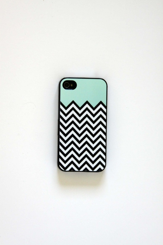 Teal Chevron iPhone 4 Case, iPhone 4s Case. $12.00, via Etsy.