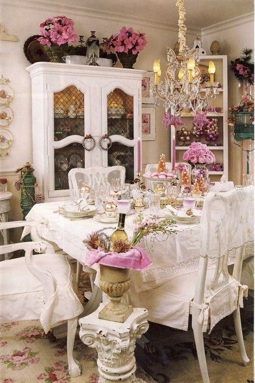 Beautiful Shabby Chic Dining Room Design Idea