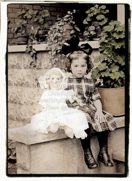 Beautiful Little Girl and her Doll,   Vintage Photo, digital download