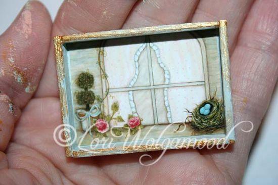 Handmade - Hand Painted Miniature Print -Topiary Bird Nest Roses - Vintage Nest Designs, Creative Handmade and Hand Painted Designs