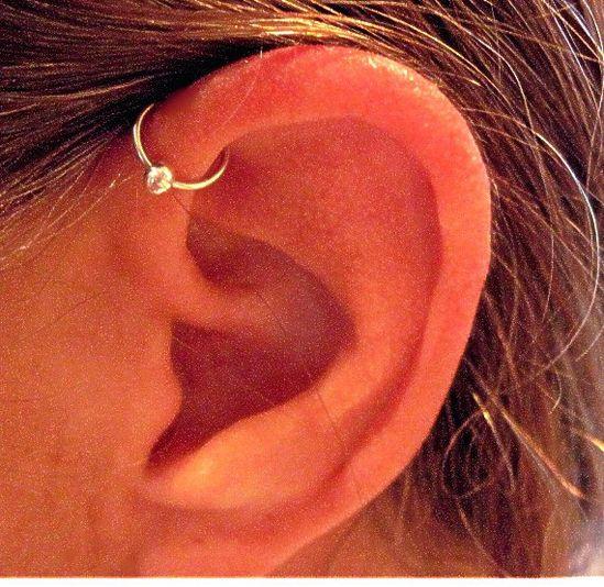 "No Piercing Sterling Silver Ear Cuff Helix Cuff ""Captive Ball"" Handmade Cartilage Cuff  #jewelry #arianrhodwolfchild #piercing #cartilage #captiveball #earrings #earcuff  #sterling #cartilagecuff #gift"