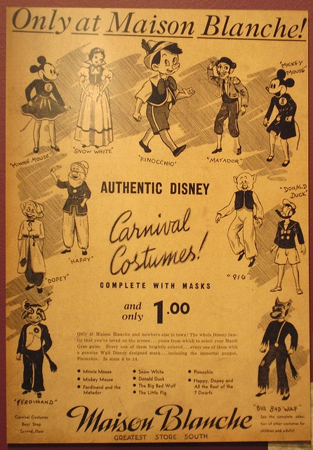 A 1940's ad for Disney carnival costumes on display at The Presbytere's Mardi Gras Museum in New Orleans.