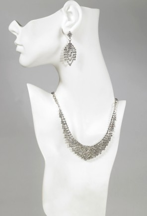 """Graduated rhinestone bib necklace with matching earrings features:•14"""" w/6"""" extender•Lobster claw clasp•Lead free"""