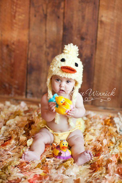 Little Duck Earflap Crochet Photography Prop by BabiesBugsAndBees,