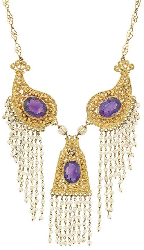 Antique gold, amethyst, and seed pearl fringe necklace, circa 1900. Via Diamonds in the Library.