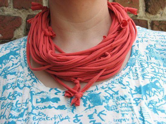Upcycled coral orange Tshirt necklace infinity by KatKeRosCorner, $18.00