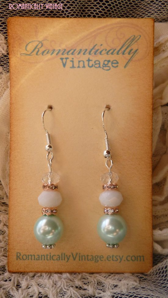 Mint Green Spring Earrings Swarovski by RomanticallyVintage, $19.00