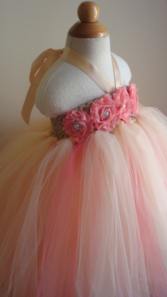 Flower girl dress champagne coral tutu by Theprincessandthebou, $74.00