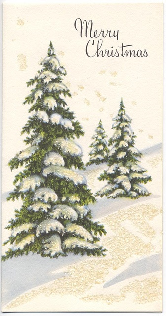 Merry Christmas 1950s - Vintage Christmas Card