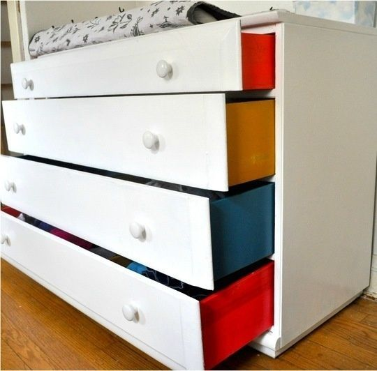 31 Home Decor Hacks That Are Borderline Genius  Paint inside of drawers