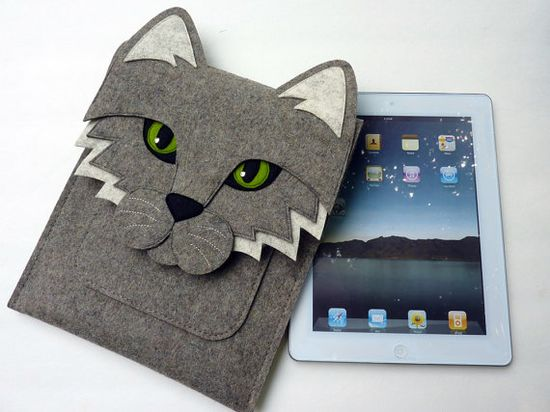 Cat New iPad and iPad 2 sleeve  Gray felt  MADE TO by BoutiqueID, $76.00