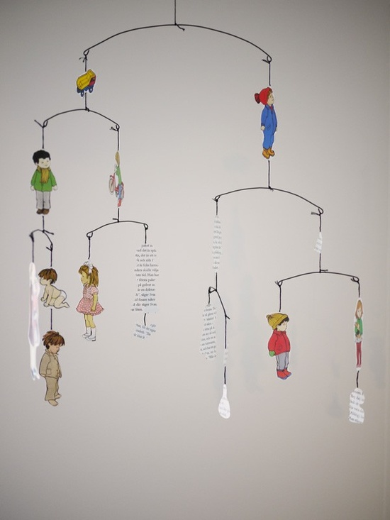 Cut Paper Hanging Mobile -  inspirational for a family tree mobile