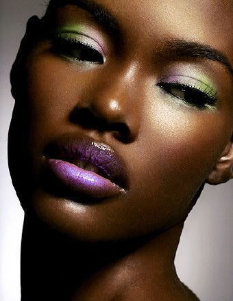Makeup: Green n purple brown skin pretty black woman