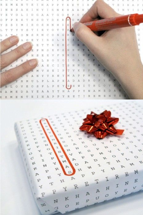Word Search Gift Wrap with Recipients Name Circled #Christmas