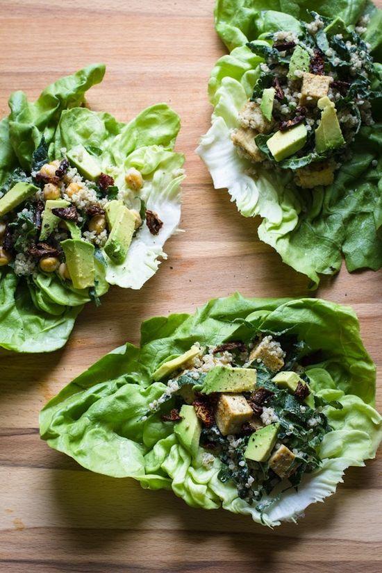 vegan caesar lettuce wraps w/ tofu, quinoa, kale + avocado via Edible Perspective